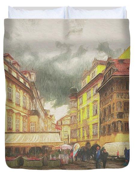 A Rainy Day In Prague Duvet Cover