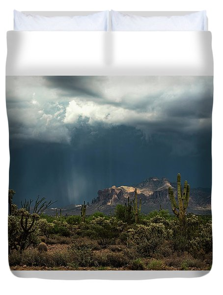 Duvet Cover featuring the photograph A Rainy Evening In The Superstitions  by Saija Lehtonen