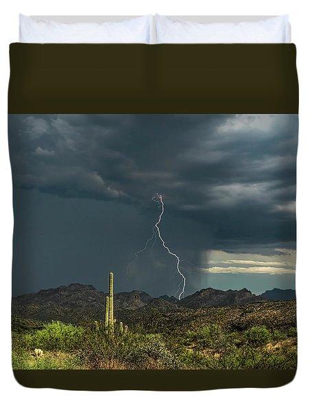 Duvet Cover featuring the photograph A Rainy Sonoran Day  by Saija Lehtonen