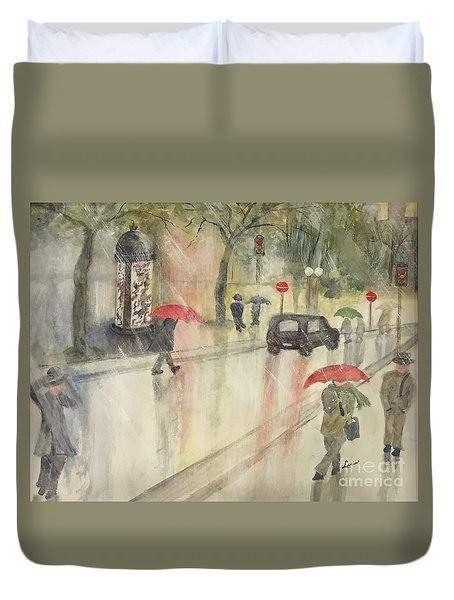 Duvet Cover featuring the painting A Rainy Streetscene  by Lucia Grilletto