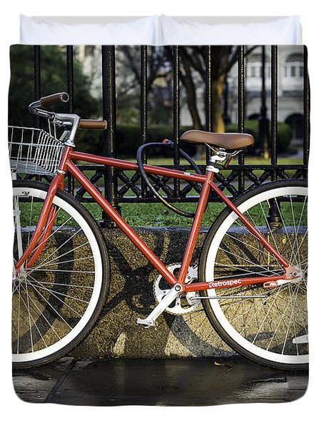 A Red Bicycle Near Jackson Square, New Orleans, Louisian Duvet Cover