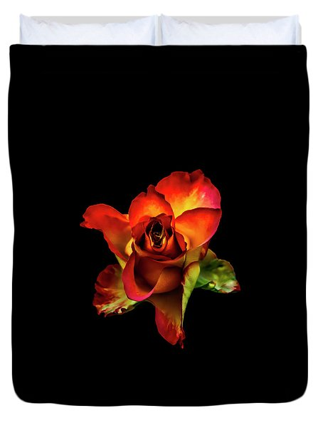 A Red Rose On Black Duvet Cover
