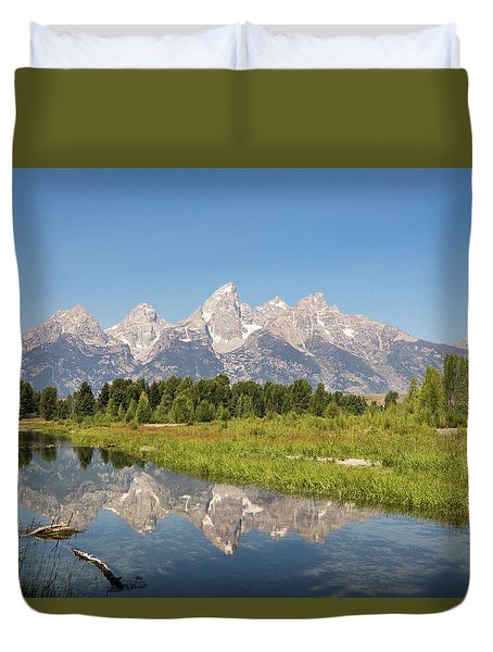 A Reflection Of The Tetons Duvet Cover