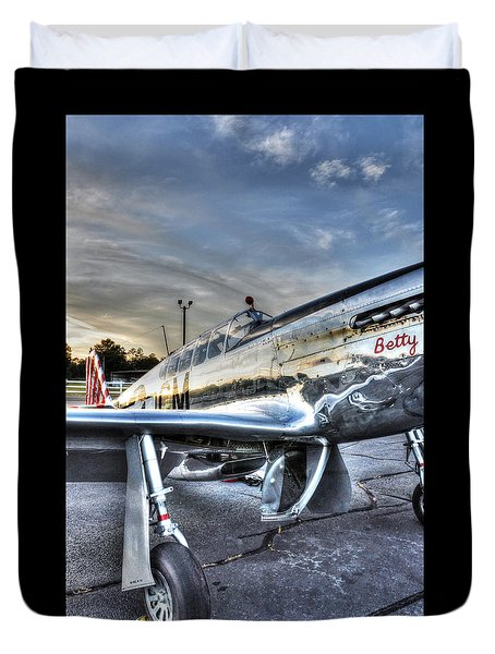 A Reflective Mustang Duvet Cover by David Collins