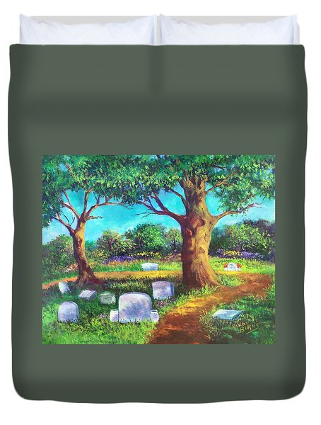 Duvet Cover featuring the painting A Remembrance by Randol Burns