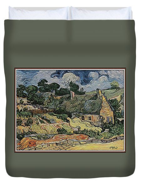 Duvet Cover featuring the digital art a replica of the landscape of Van Gogh by Pemaro
