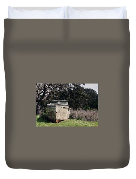 A Retired Old Fishing Boat On Dry Land In Bodega Bay Duvet Cover