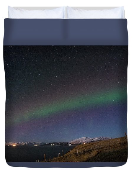 A Ribbon Of Northern Lights Duvet Cover