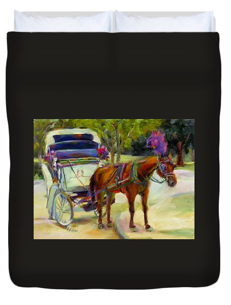 Duvet Cover featuring the painting A Ride Through Central Park by Chris Brandley