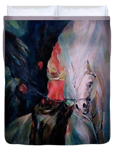A Rider Duvet Cover by Khalid Saeed