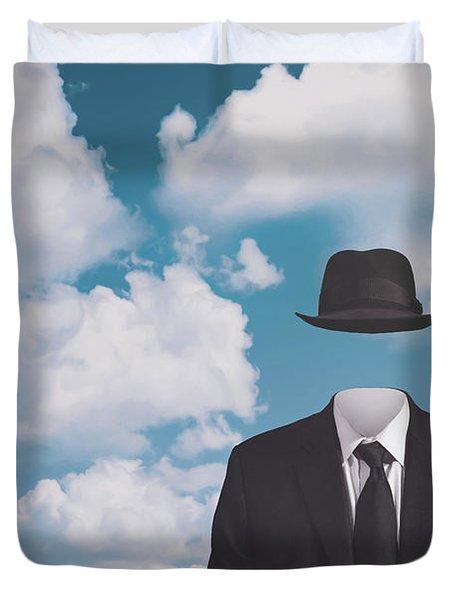 A Riff On Magrittes The Pilgrim Duvet Cover