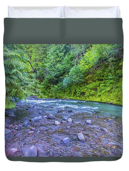 Duvet Cover featuring the photograph A River by Jonny D
