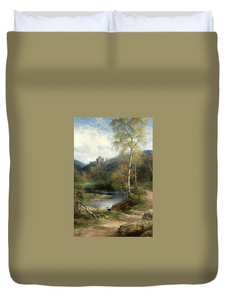 A River Landscape With Castle Beyond Duvet Cover