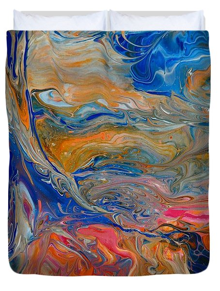 Duvet Cover featuring the painting A River Runs Through It by Deborah Nell
