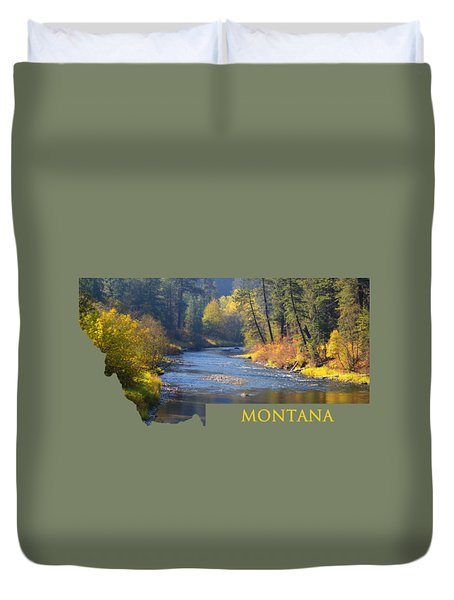A River Runs Thru Autumn Duvet Cover
