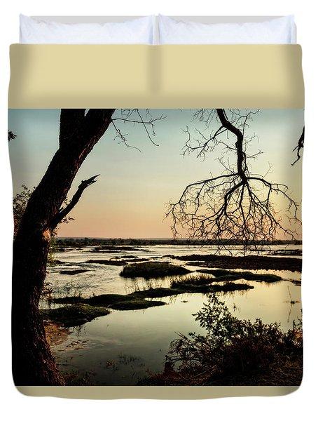A River Sunset In Botswana Duvet Cover