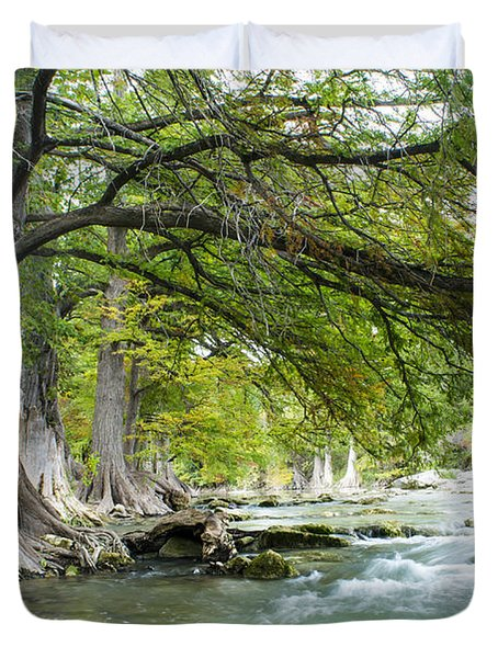 A River Under Bald Cypress Trees Duvet Cover