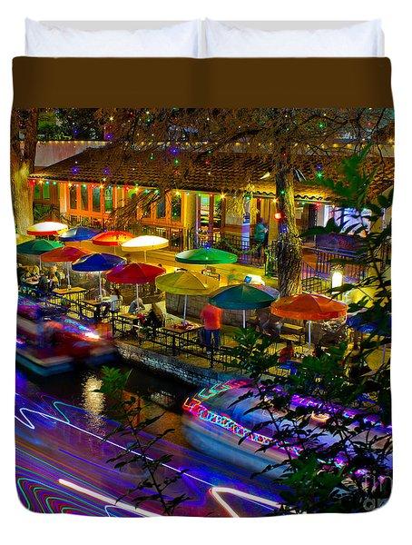 A San Antonio River Walk Christmas Duvet Cover