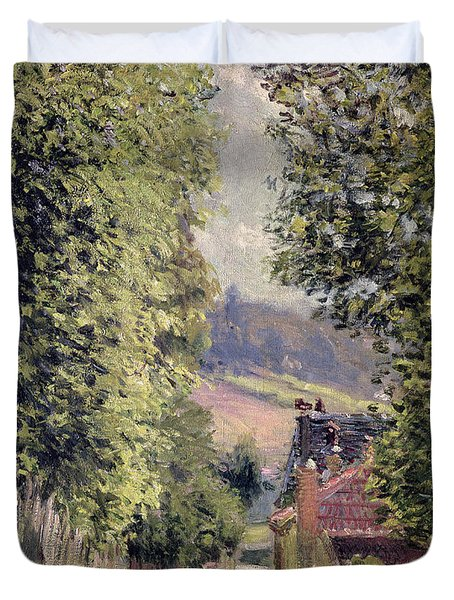 A Road In Louveciennes Duvet Cover by Alfred Sisley
