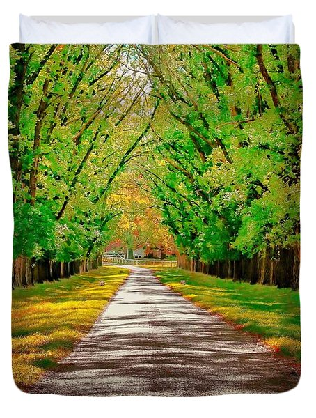 A Road Through Autumn Duvet Cover by Wallaroo Images