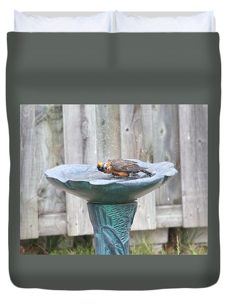 A Robin Enjoying A Bath Duvet Cover
