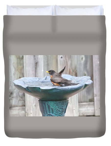 A Robin Having A Vigorous Bathhugh Mcclean Duvet Cover