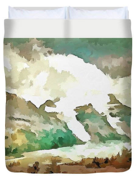 Duvet Cover featuring the painting A Rocky Moment by Mario Carini