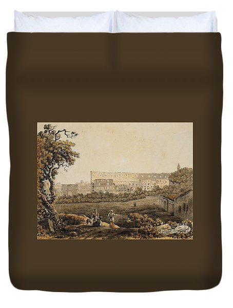 A Roman Landscape With The Colosseum And Figural Staffage Duvet Cover