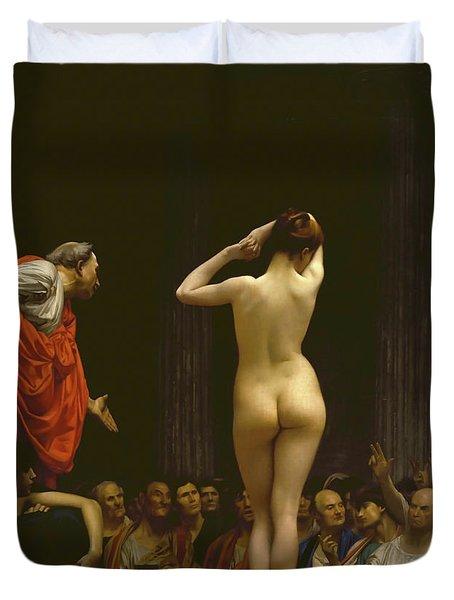 A Roman Slave Market, Jean Leon Gerome Duvet Cover