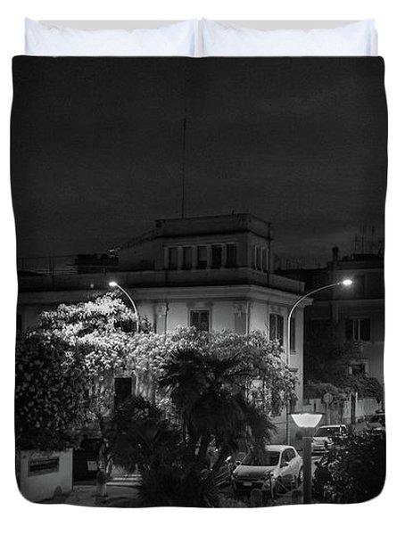 A Roman Street At Night Duvet Cover