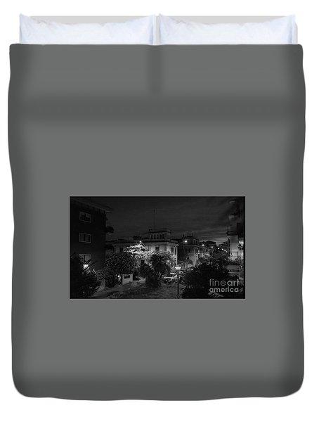 A Roman Street At Night Duvet Cover