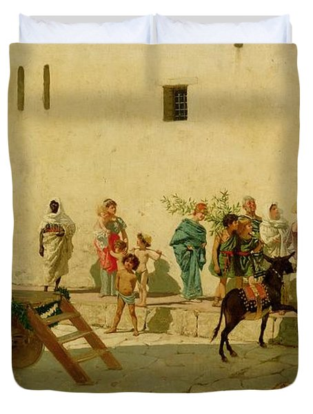 A Roman Street Scene With Musicians And A Performing Monkey Duvet Cover by Modesto Faustini