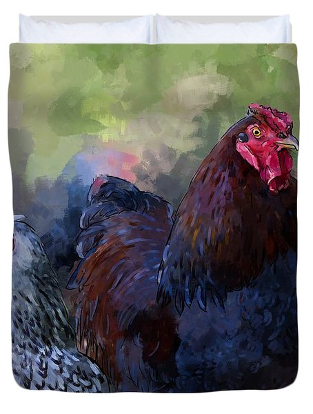 A Rooster And A Hen Duvet Cover