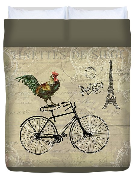 A Rooster In Paris Duvet Cover