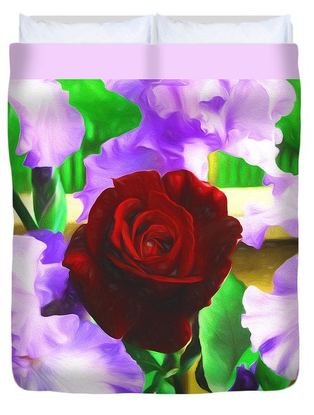 A Rose Among The Iris Duvet Cover