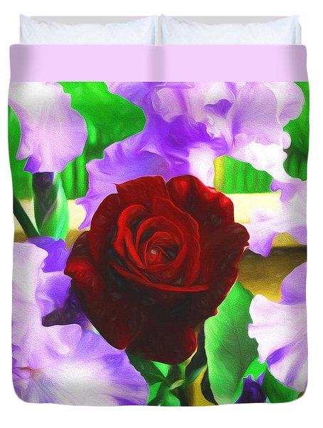 A Rose Among The Iris Duvet Cover by John Freidenberg