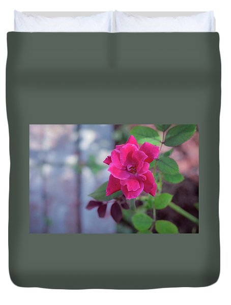 A Rose And A Hard Place Duvet Cover by Stefanie Silva