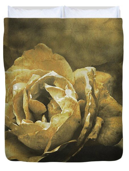 Duvet Cover featuring the digital art Vintage Effect Rose by Fine Art By Andrew David