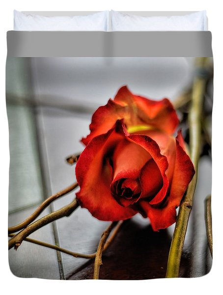 Duvet Cover featuring the photograph A Rose On Bamboo by Diana Mary Sharpton