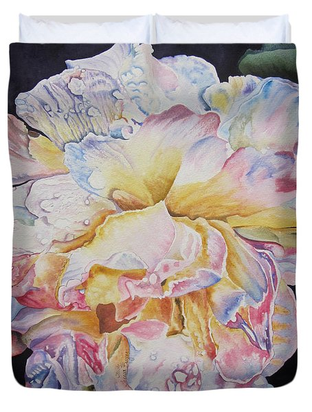 Duvet Cover featuring the painting A Rose by Teresa Beyer