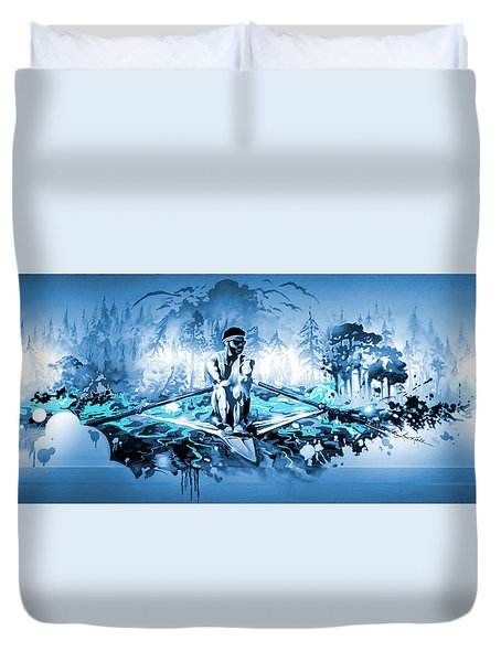 Duvet Cover featuring the painting A Rower's Fantasy by Hanne Lore Koehler
