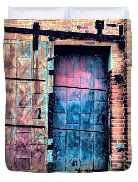 A Rusty Loading Dock Door Duvet Cover