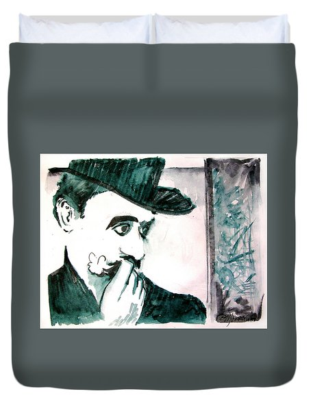 A Sad Portrait Of Chaplin Duvet Cover