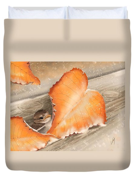 Duvet Cover featuring the painting A Safe Place by Veronica Minozzi