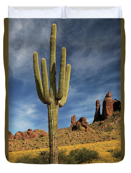 A Saguaro In Spring Duvet Cover by James Eddy