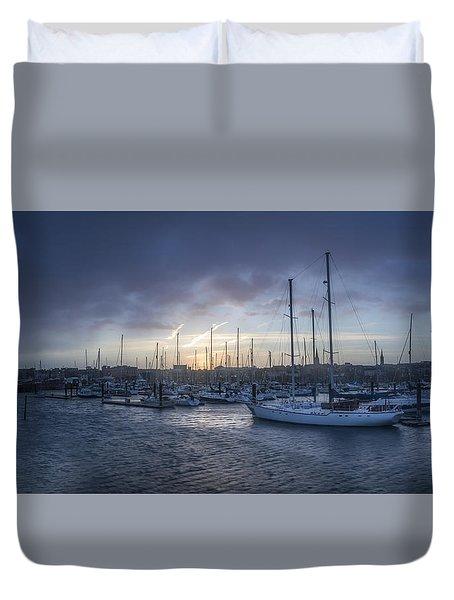 A Sailors Warning At Bangor Marina Duvet Cover