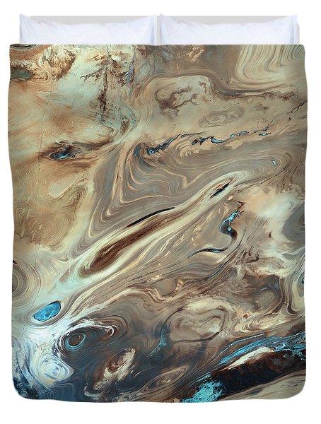 A Satellite Picture Of The Dasht-e Kavir Desert In Iran. Duvet Cover