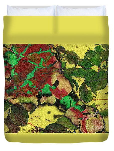 Duvet Cover featuring the photograph A Scattering Of Leaves by Kathie Chicoine