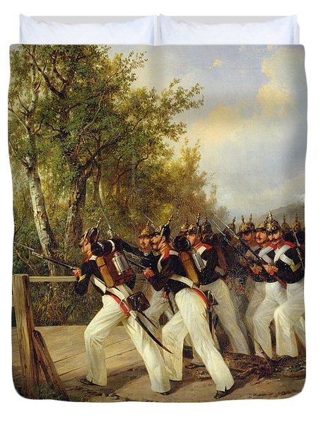 A Scene From The Soldier's Life Duvet Cover by Carl Schulz