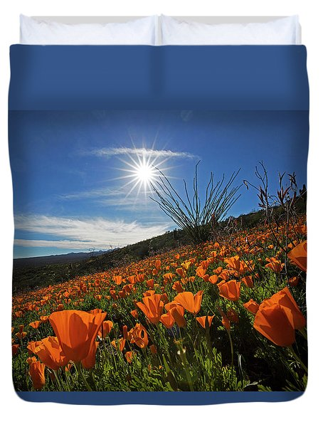 A Sea Of Poppies Duvet Cover